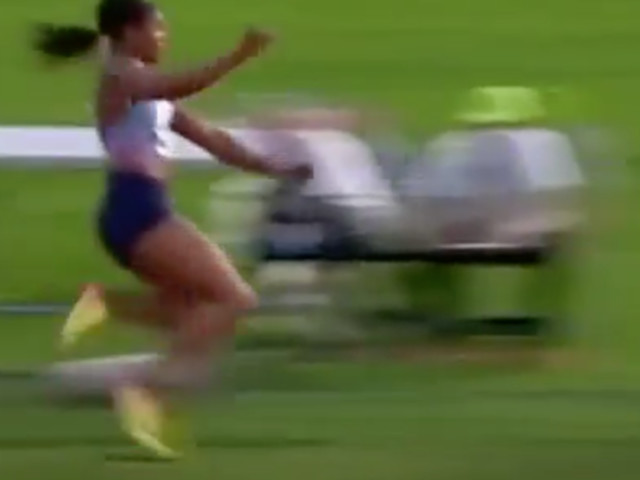 Long Jump Athlete Blessing Okagbare's Wig Flies Off