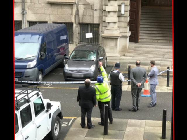 Car Windscreen Smashed Inside Parliament