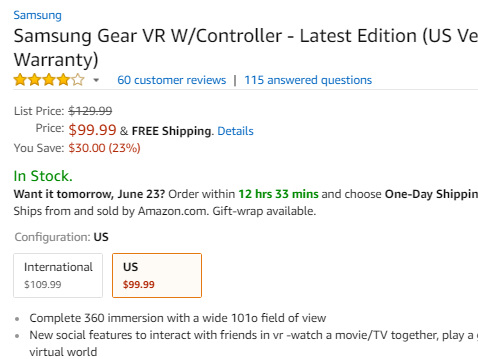 Deal: Samsung Gear VR can be yours for $99.99