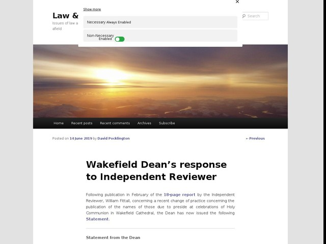 Wakefield Dean's response to Independent Reviewer