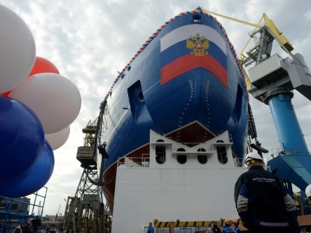 Russia floats out powerful nuclear icebreaker