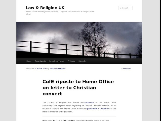 CofE riposte to Home Office on letter to Christian convert