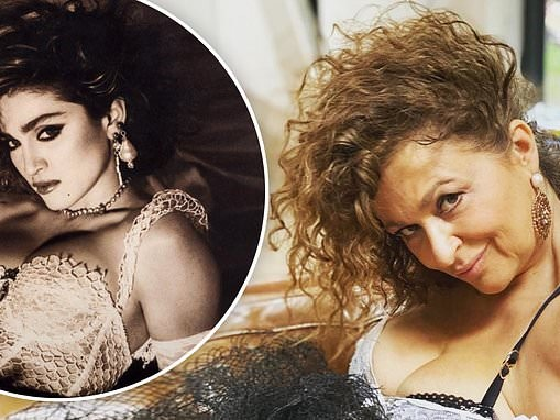Nadia Sawalha puts on a sultry display as she recreates Madonna's Like A Virgin album cover