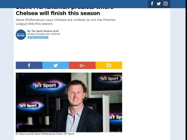 Steve McManaman predicts where Chelsea will finish this season