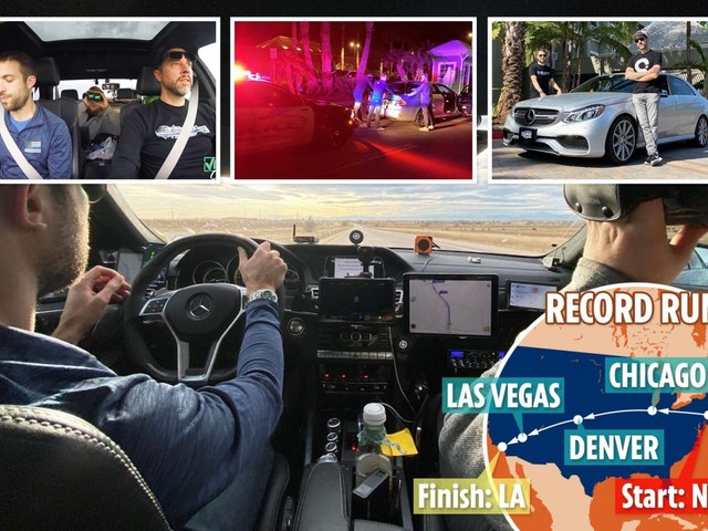 Infamous Cannonball Run sees drivers break East to West coast record with near-200mph blast across the USA