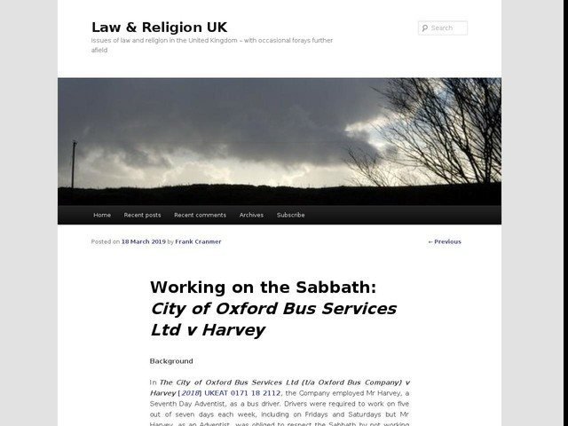 Working on the Sabbath: City of Oxford Bus Services Ltd v Harvey