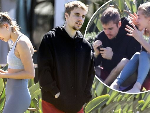 Justin Bieber and Hailey Baldwin look tense as they appear to argue amid reports marriage on rocks