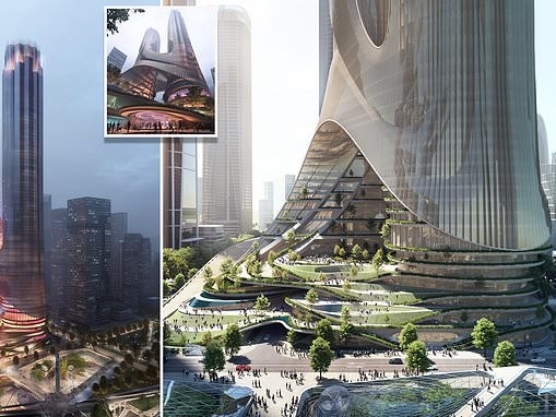 The sci-fi-style twin skyscrapers by Zaha Hadid that will be as tall as the Empire State Building