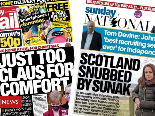 Scotland's papers: 'Tense' talks to save Christmas and Sunak 'snub'
