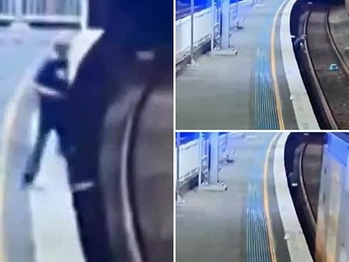 Drunk man nearly dies after plunging onto the train tracks