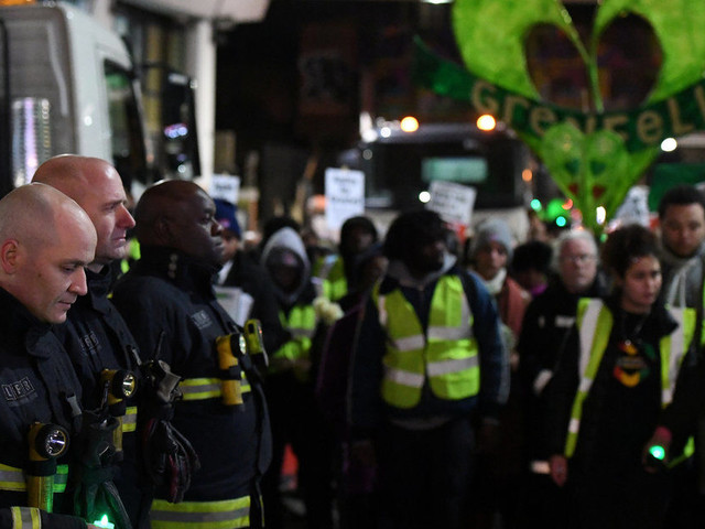 Grenfell Tower Firefighters Line Up For Silent Walk As Marchers Mark Six Month Anniversary Of Blaze