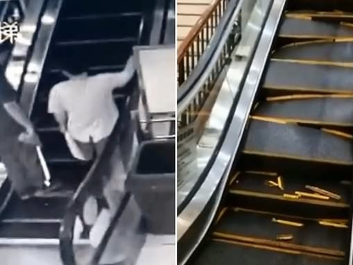 Shoppers' horror as escalator steps suddenly collapse at a mall