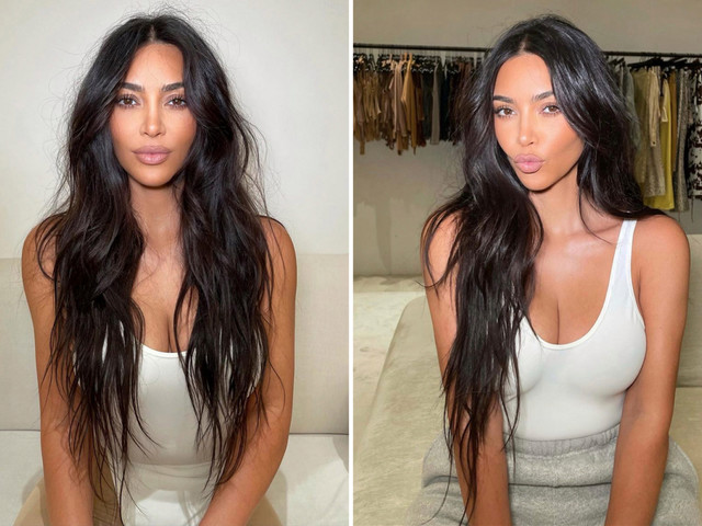 Kim Kardashian goes 'casual' in a tight tank top and sweatpants after star reunites with ex Kanye West at Donda party