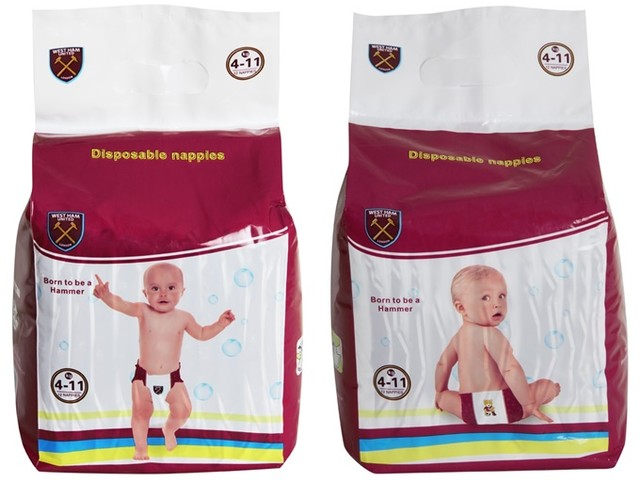 Pies' 2017 Christmas Football Gift Guide, No.7: Official West Ham Disposable Baby Nappies