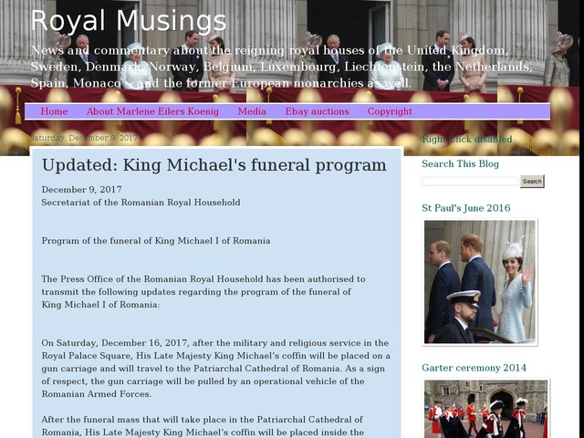 Updated: King Michael's funeral program