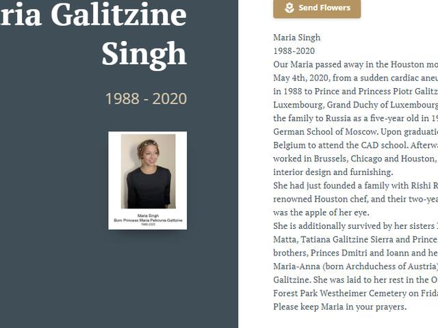 Maria Singh (Princess Maria Galitzine) 1988-2020