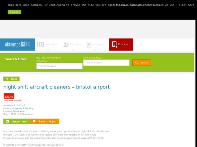 night shift aircraft cleaners – bristol airport