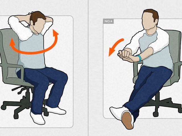 Desk exercises infographic: 10 essential routines for designers