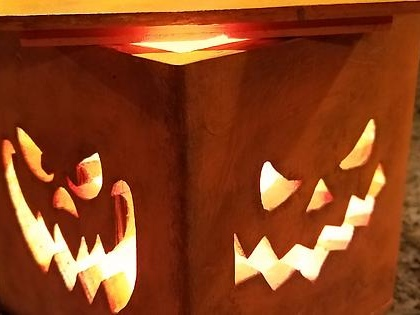 Got tired of making new Jack-o-lanterns each year that just rot and get thrown away. Made one out of wood this year.