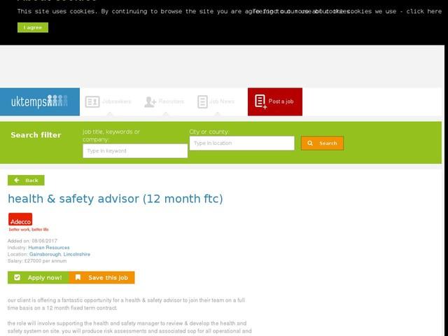 health & safety advisor (12 month ftc)