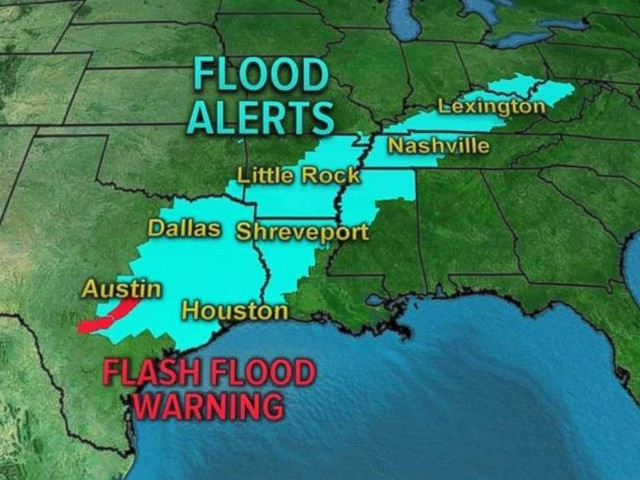 Flood alerts in 10 states from Texas to Ohio with more rain expected