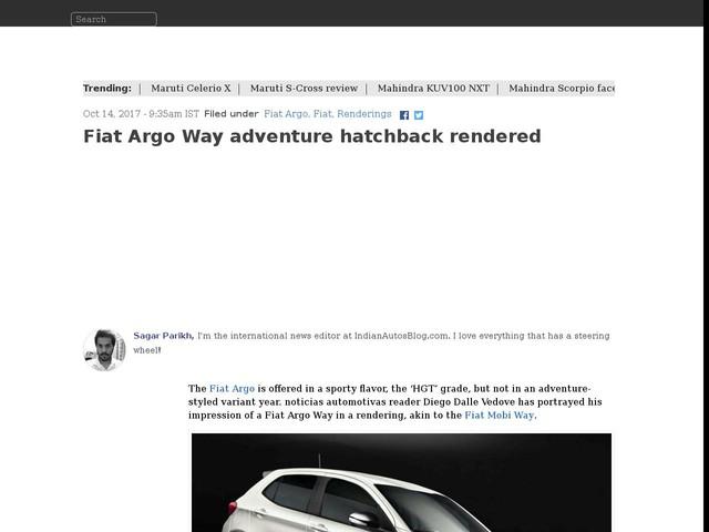 Fiat Argo Way adventure hatchback rendered