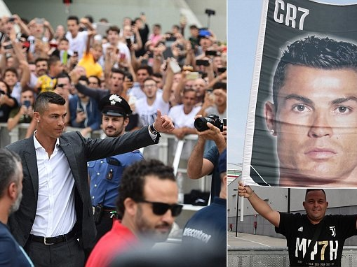 Hundreds of excited Juventus fans greet Cristiano Ronaldo as he arrives for medical
