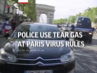 Police use tear gas at Paris virus rules protest