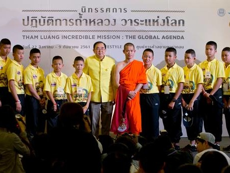 Rescued boys take to stage as Thai cave story moves to Bangkok mall