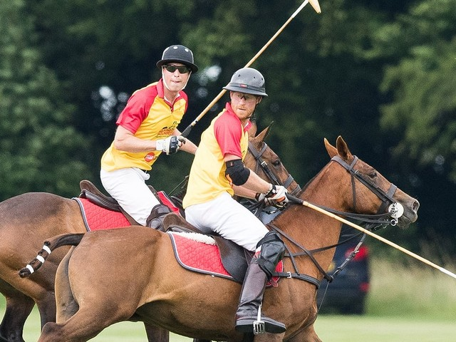 Prince Harry and Big Brother William Share a Laugh While Playing Polo