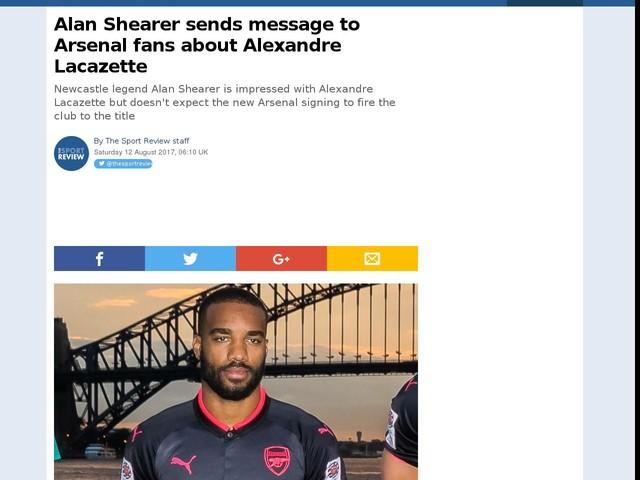 Alan Shearer sends message to Arsenal fans about Alexandre Lacazette