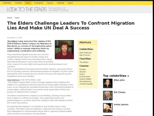 The Elders Challenge Leaders To Confront Migration Lies And Make UN Deal A Success