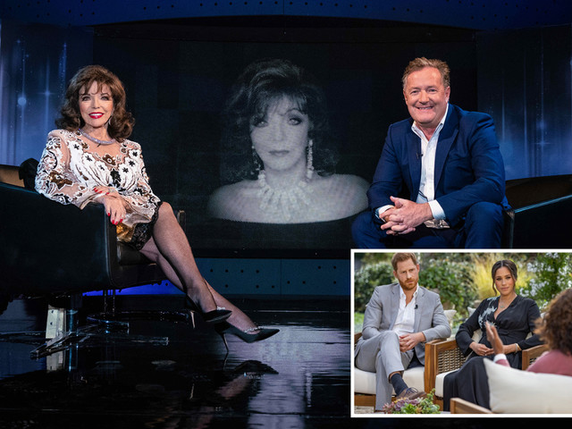 Joan Collins refuses to tell Piers Morgan what she thinks of Meghan and Harry, exclaiming 'look what happened to you'