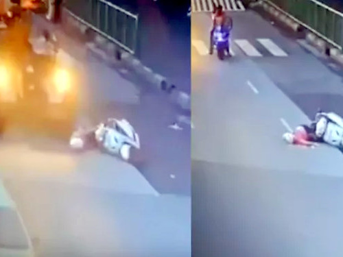 Woman on scooter falls while changing lane – Crushed under oncoming vehicle