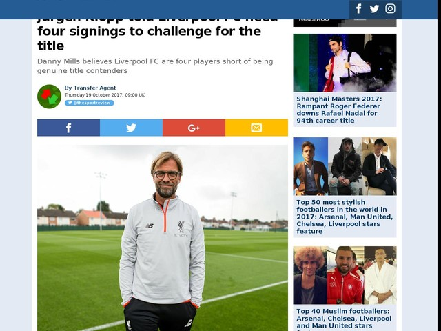 Jurgen Klopp told Liverpool FC need four signings to challenge for the title