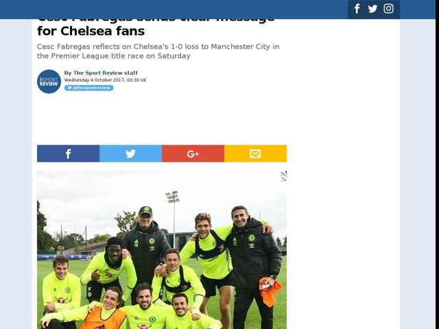 Cesc Fabregas sends clear message for Chelsea fans