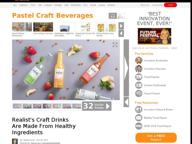 Pastel Craft Beverages - Realist's Craft Drinks Are Made From Healthy Ingredients (TrendHunter.com)