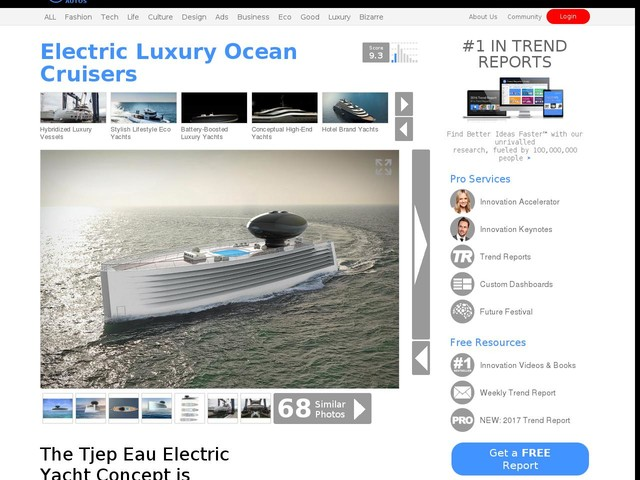 Electric Luxury Ocean Cruisers - The Tjep Eau Electric Yacht Concept is Powerful Yet Efficient (TrendHunter.com)