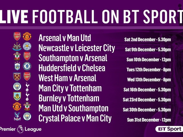 Man City and Tottenham lead exciting December live TV line-up