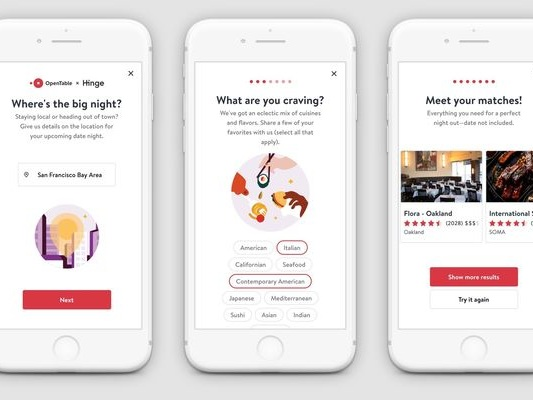 Matchmaking Restaurant Bookings - Hinge & OpenTable are Helping Dating App Users Pick Date Spots (TrendHunter.com)