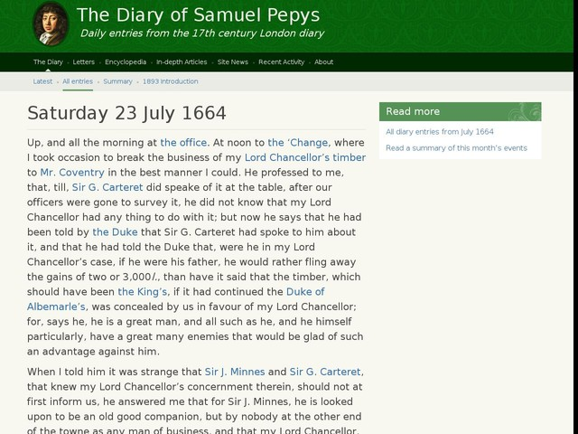 Saturday 23 July 1664