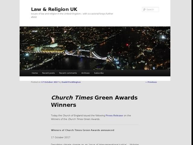 Church Times Green Awards Winners