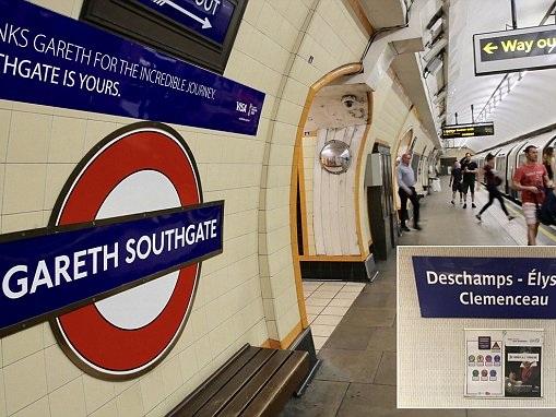 Gareth Southgate has tube station temporarily named after him