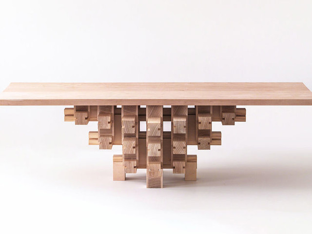 Chinese Architecture-Inspired Tables - The Dougong Table by Mian Wei Features No Screws (TrendHunter.com)