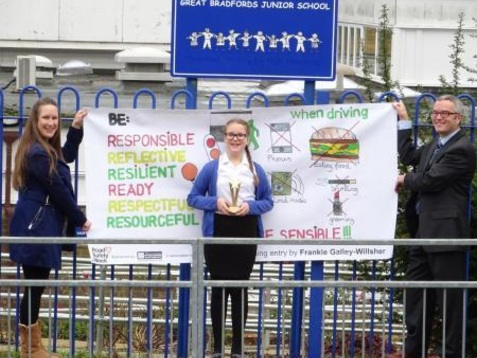 Great Bradfords school pupil designs competition winning road safety banner