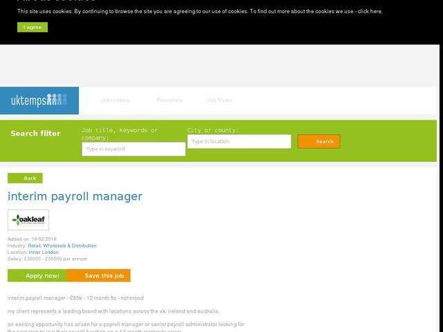 interim payroll manager