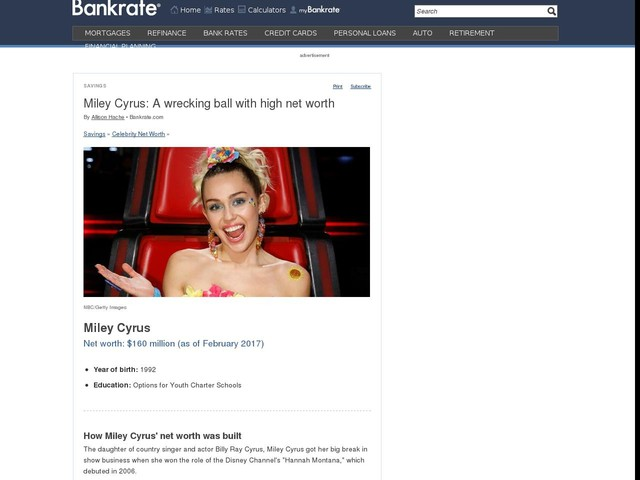 Miley Cyrus: A wrecking ball with high net worth