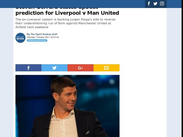 Steven Gerrard states upbeat prediction for Liverpool v Man United