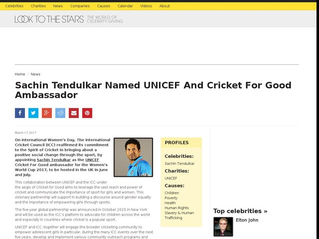Sachin Tendulkar Named UNICEF And Cricket For Good Ambassador