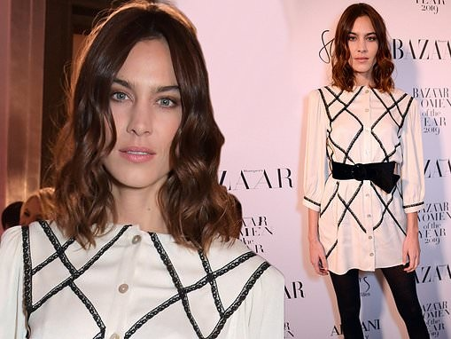 Alexa Chung looks chic in an embroidered shirt dress at Harper's Bazaar Women of The Year Awards